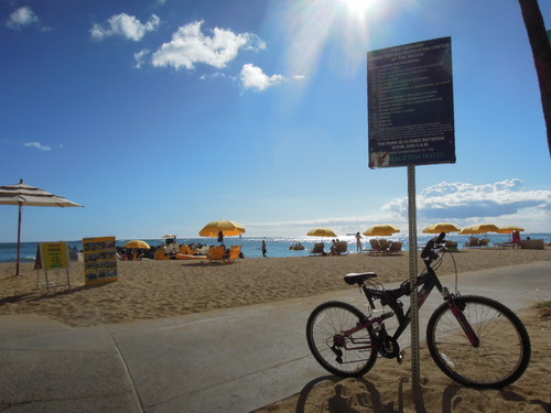 ハワイ ビーチ 自転車 Nikon COOLPIX P300