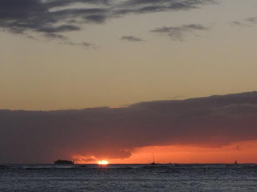ハワイのビーチでサンセット画像撮影(ニコンP310で撮影)